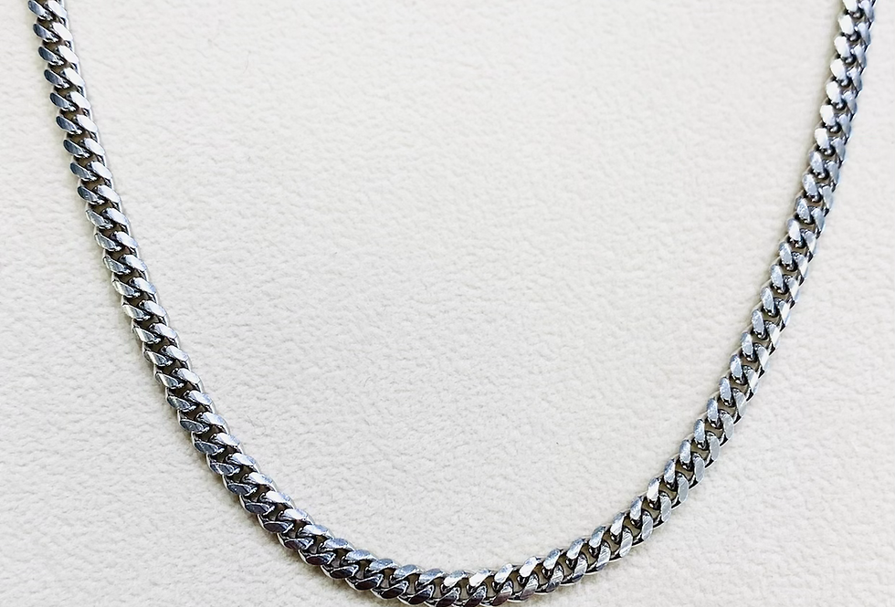 "Solid 4mm 22"" High Polish Cuban Link Chain in .925 Sterling Silver"