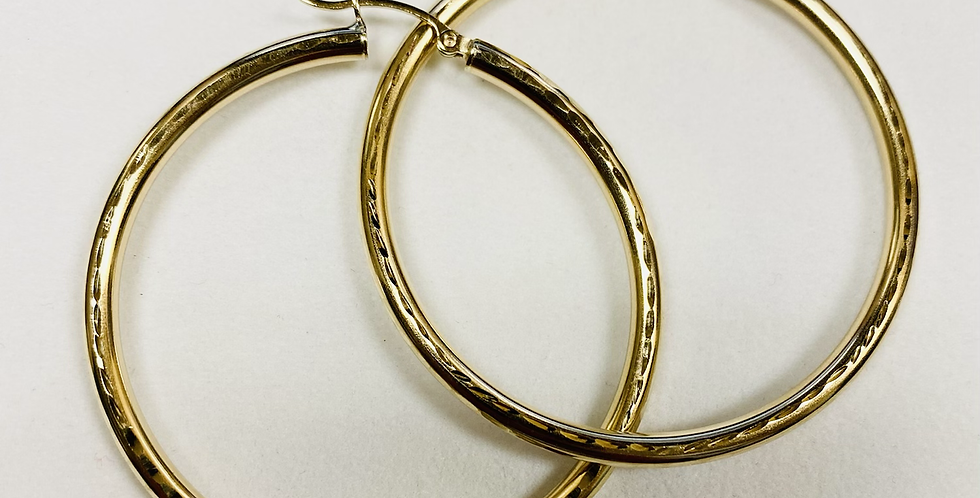 50MM Beautiful Round Hoop Earrings In 14K Yellow Gold