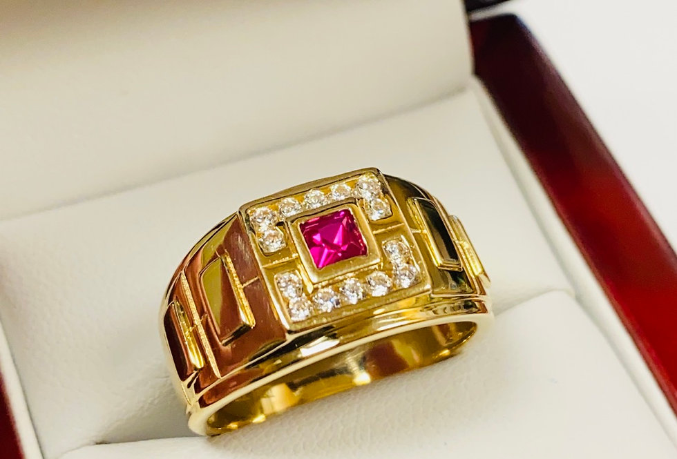 Red & White Cubic Zirconia Men's Ring In 14K Yellow Gold