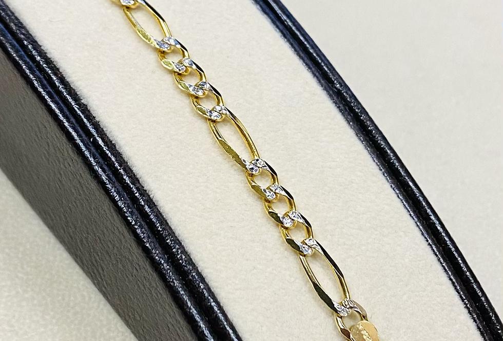 4.5 mm Diamond Cut Figaro Link Bracelet In 14K Yellow Gold