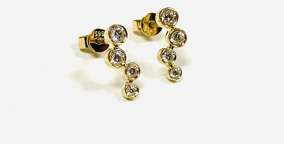 .36 CTW Diamond Bezeled Stud Earrings In 14K Yellow Gold