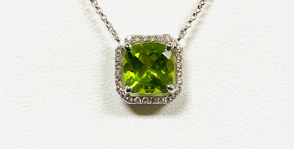 "Cushion Cut Peridot & Diamond Halo Pendant With 18"" Necklace In 14K White Gold"