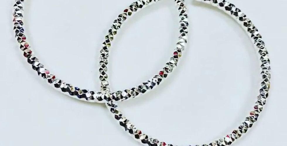 Beaded Diamond Cut Hoop Earrings in .925 Sterling Silver