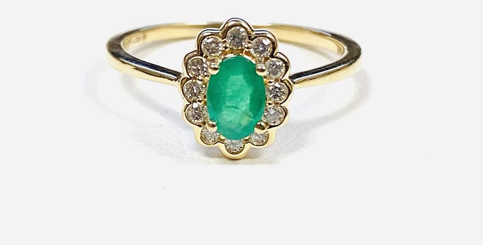 Oval Emerald .45 ct & Diamond Halo .16 ctw in 14K Yellow Gold