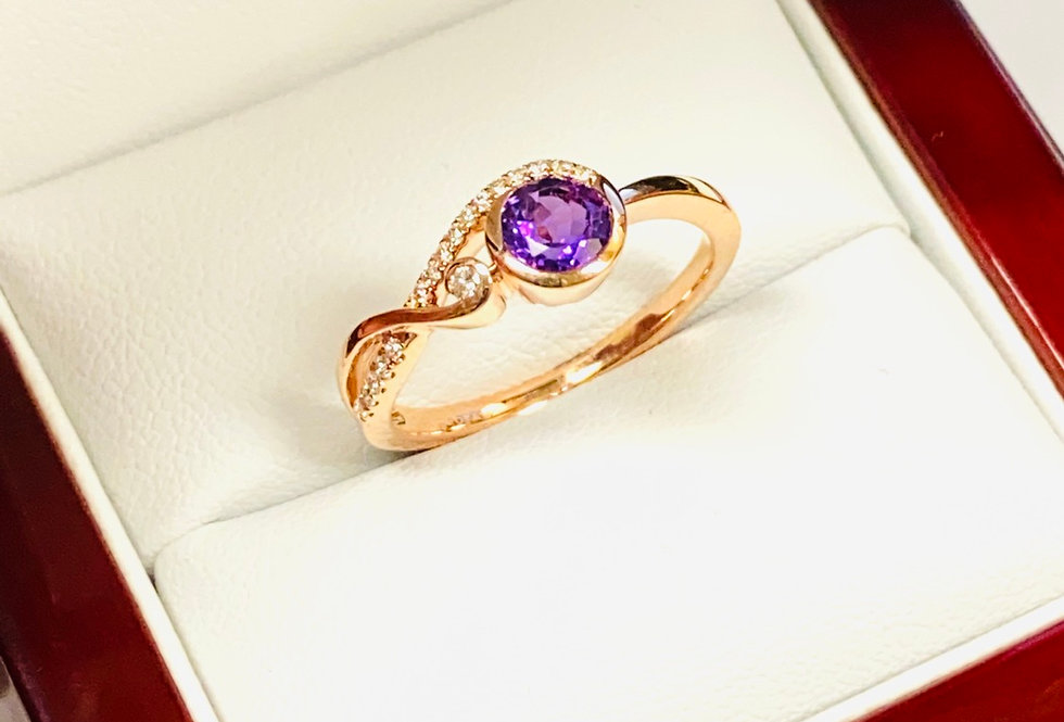 Amethyst .50 ct & Diamond .10 ctw Ring In 14K Rose Gold