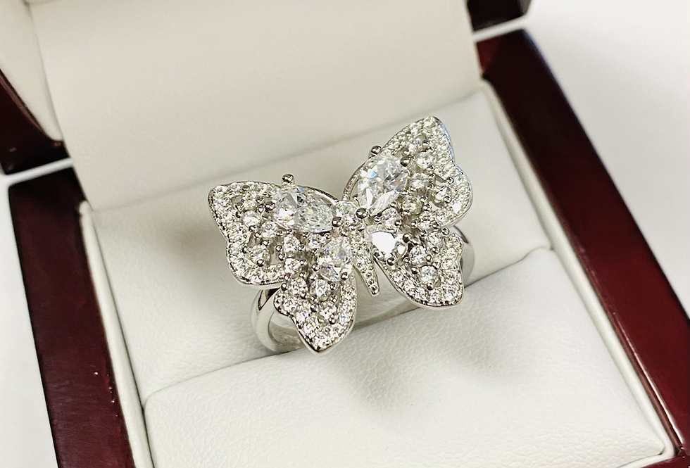 Butterfly Cubic Zirconia Ring in .925 Sterling Silver