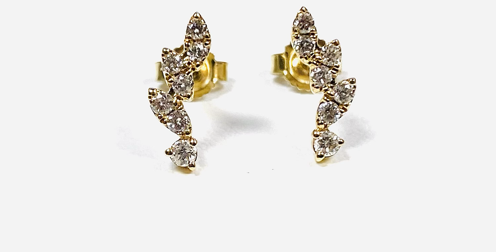 .25 CTW Diamond Cluster Stud Earrings In 14K Yellow Gold