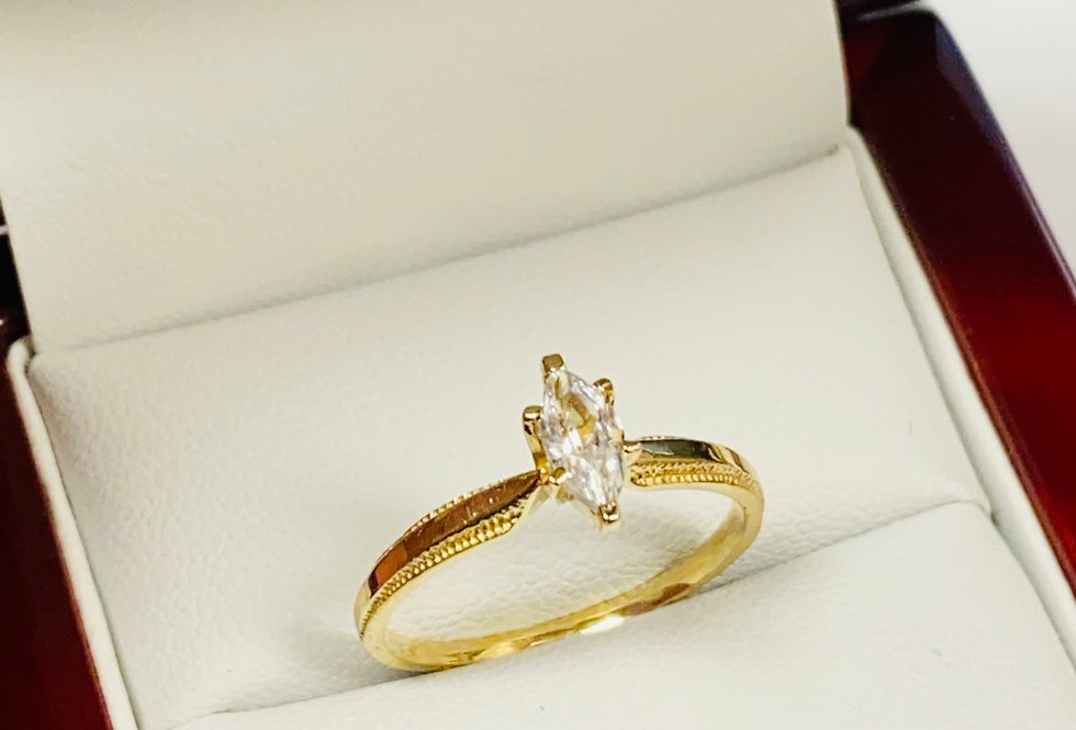 Marquise Shape Cubic Zirconia Solitaire in 10K Yellow Gold
