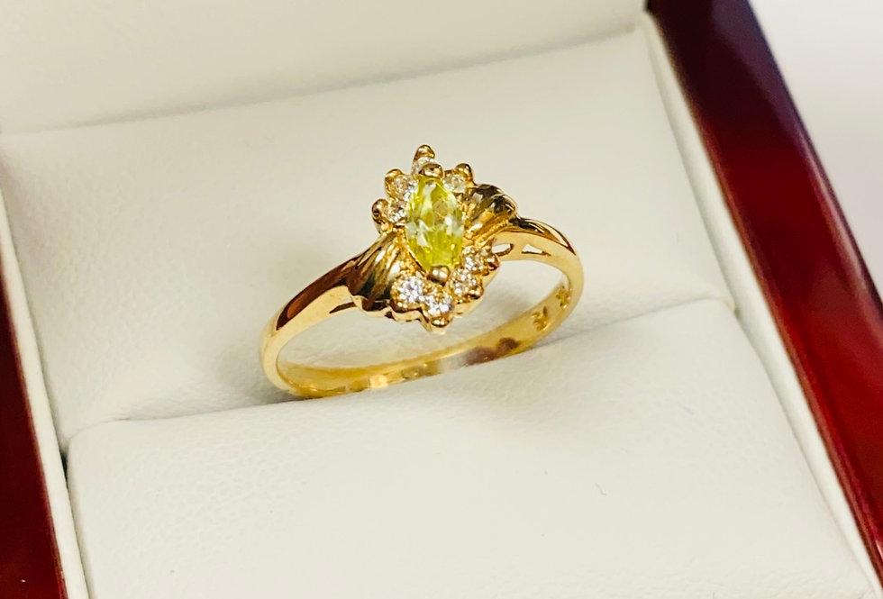 Yellow & White Cubic Zirconia Ring in 14K Yellow Gold