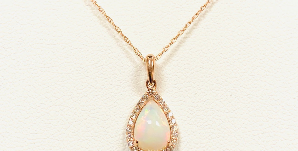 """Pear Shape Opal Diamond Halo Pendant In 14K Rose Gold With 18"""" Chain"""