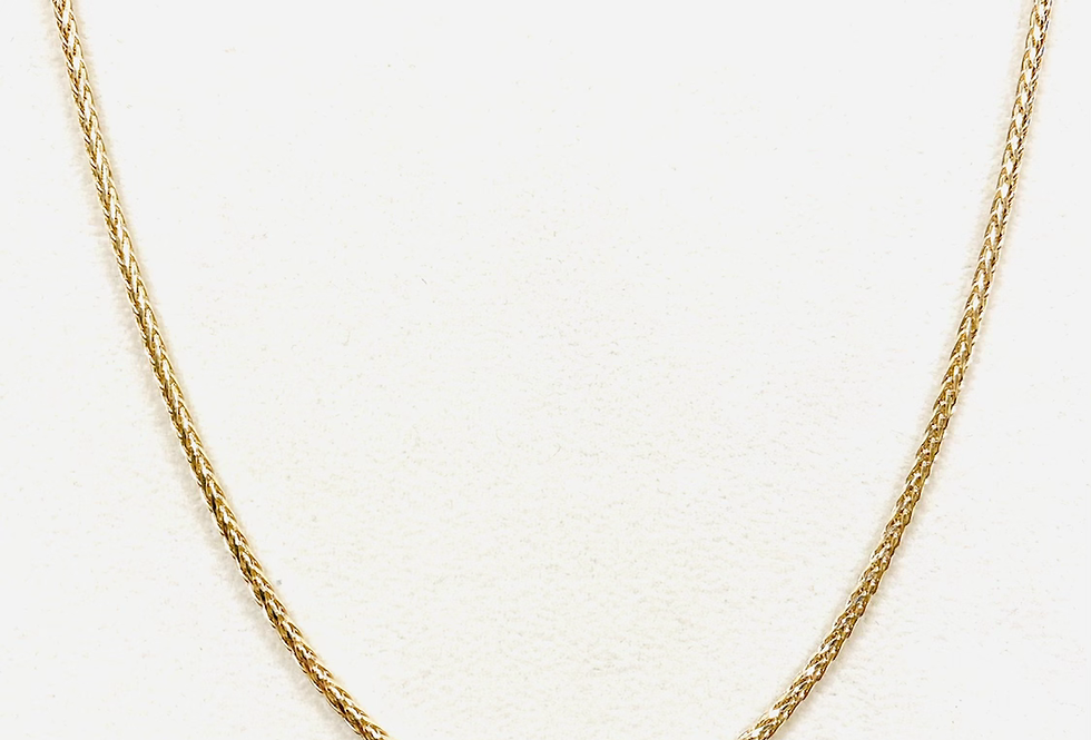 """2MM Wheat Chain In 14k Yellow Gold With Lobster Clasp 24"""" 11.4 Grams"""