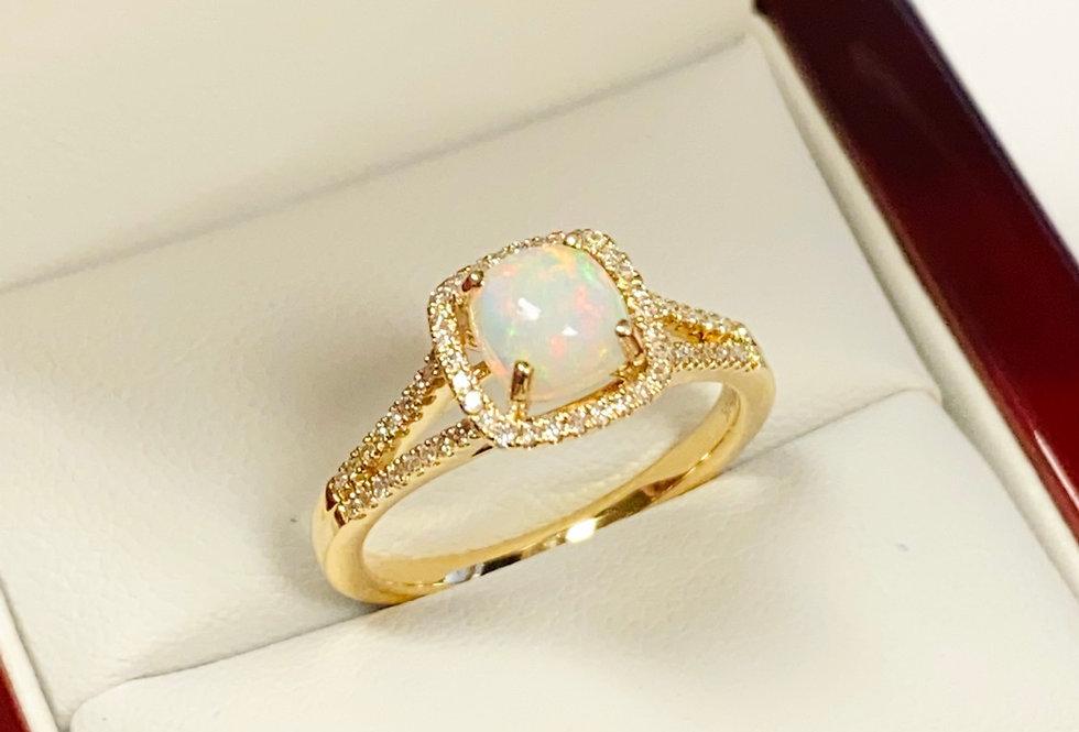 Opal .65 ct & Diamond Halo .20 ctw In 14k Yellow Gold