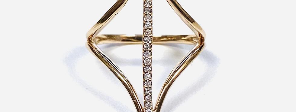 Diamond .12 ctw Bar Ring In 14K Rose Gold