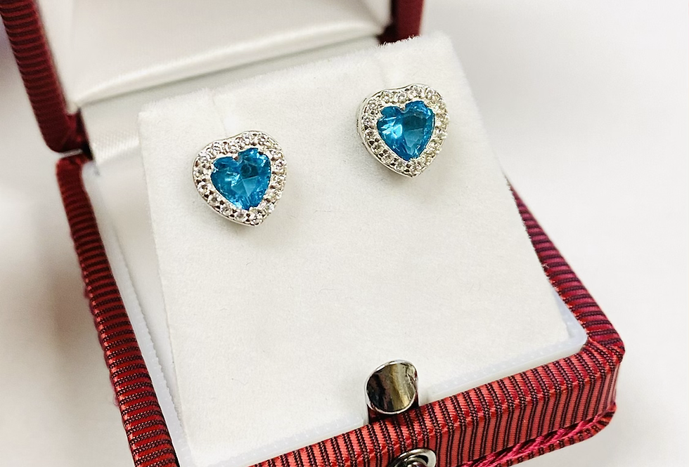 Blue Heart Shape CZ Stud Earrings in .925 Sterling Silver