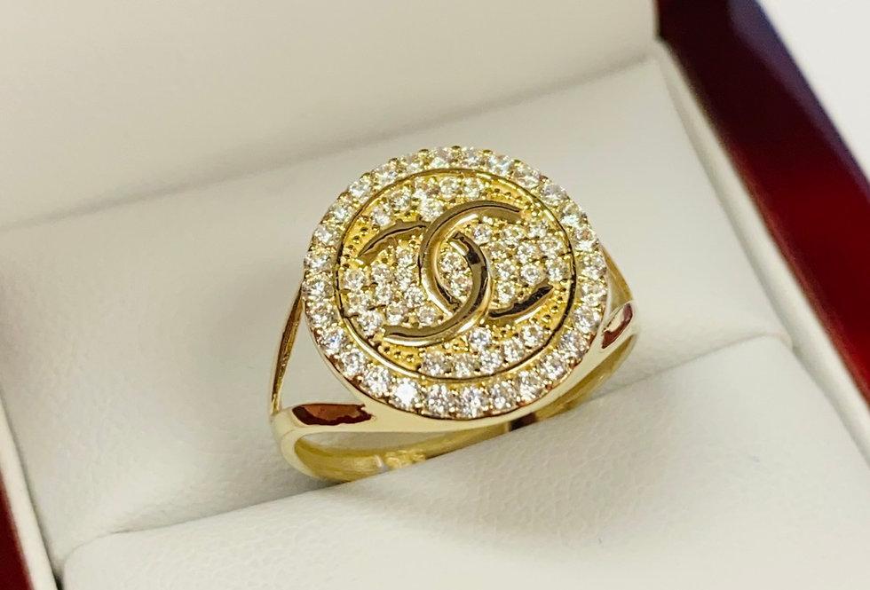 CC Cubic Zirconia Ring In 14K Yellow Gold