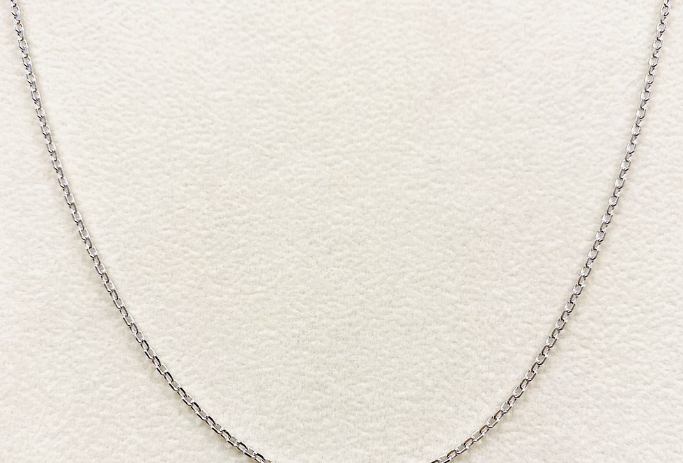 Diamond Cut Cable Chain #40 In 14k White Gold With Lobster Clasp