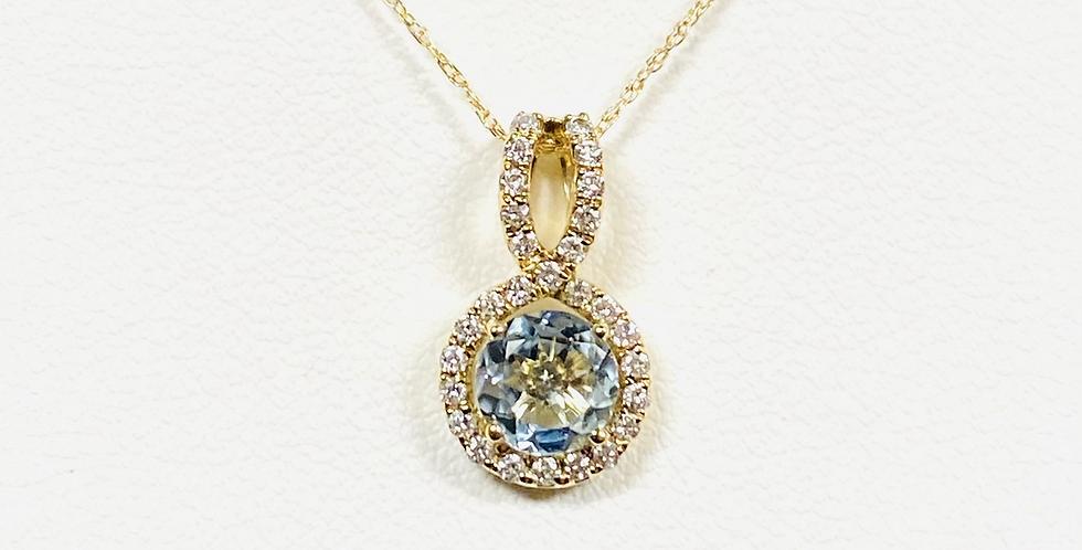 "Aquamarine & Diamond Halo Pendant With 18"" Necklace in 14K Yellow Gold"