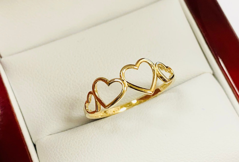 Open Heart High Polish Ring in 14K Yellow Gold