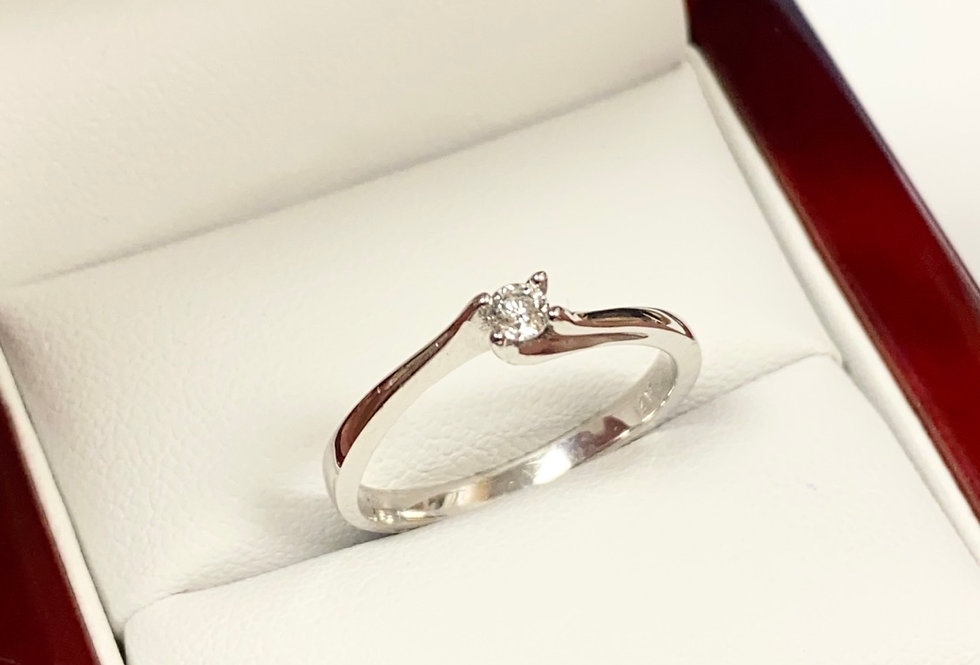 .10ct Round Diamond Solitaire Ring in 14K White Gold