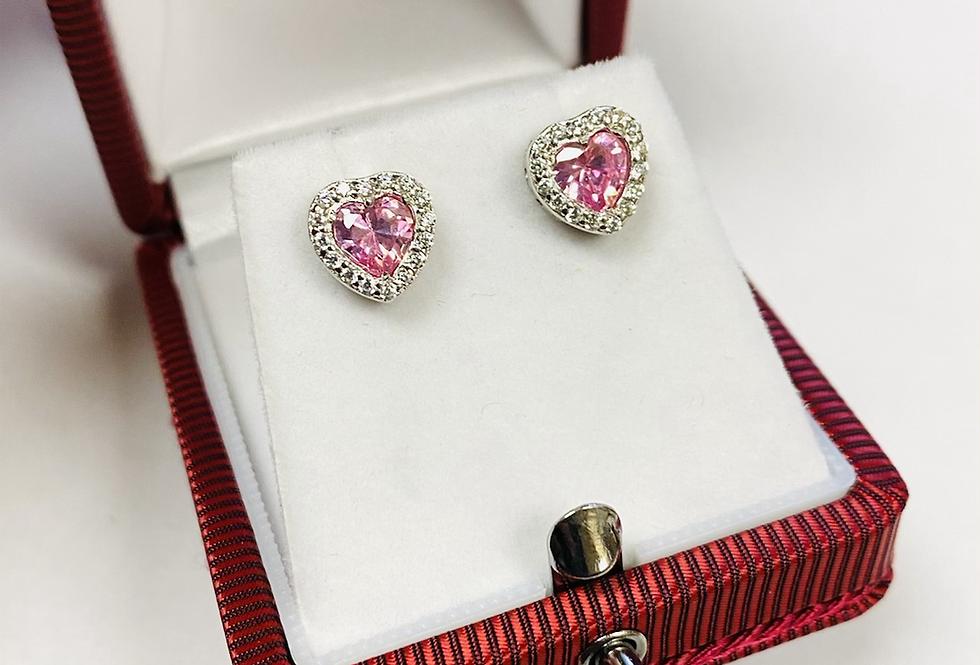 Pink Heart Shape CZ Stud Earrings in .925 Sterling Silver