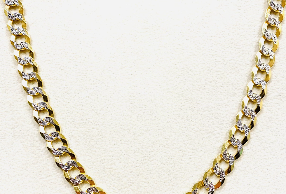 "Solid 7MM Curb Chain Diamond Cut 26"" In 14K Yellow Gold"