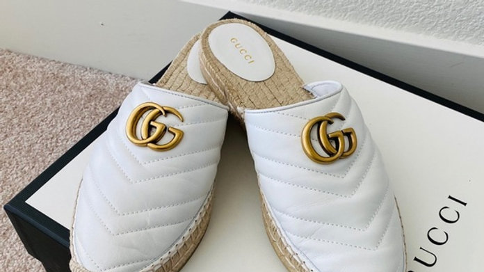 New Gucci Classic GG Espadrille Slides  (Size 10)