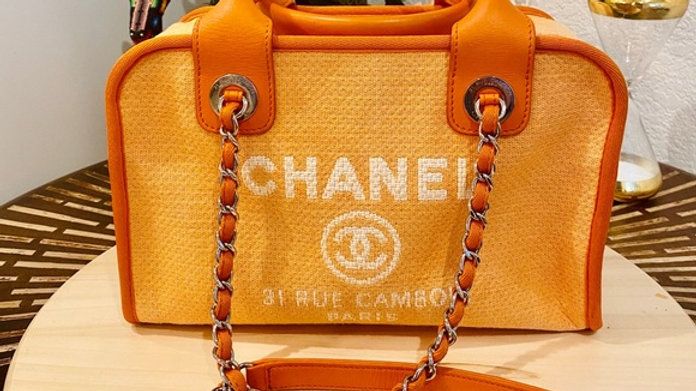 Chanel Deauville Bowling Canvas Bag - PreLoved
