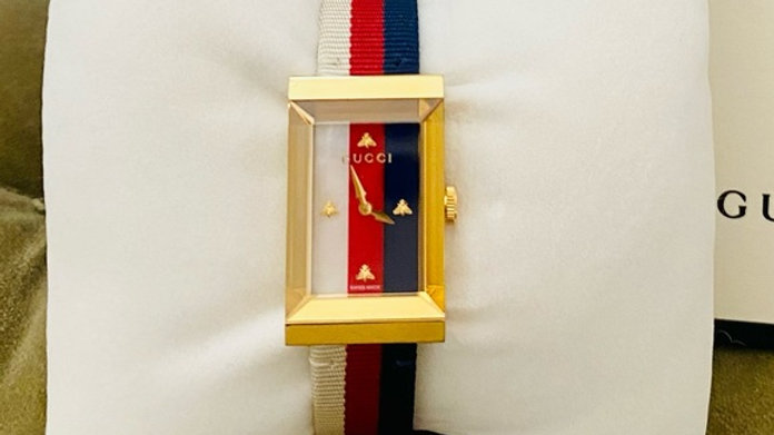 New Gucci G-frame Gold-tone Fabric Strap Ladies Watch