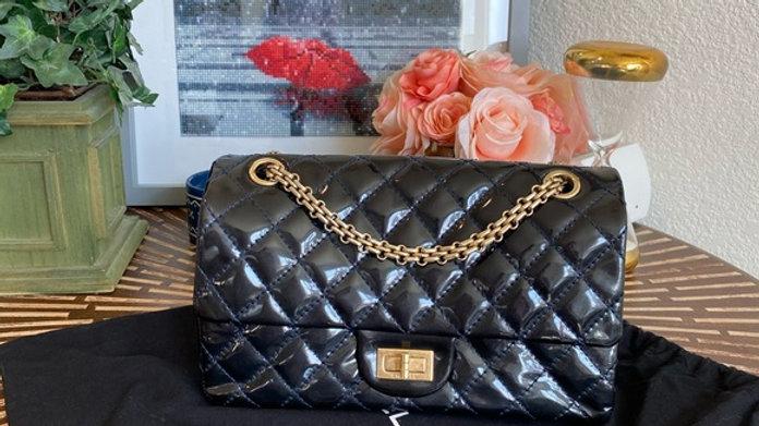 Chanel Reissue in Dark Blue Patent Leather - PreLoved