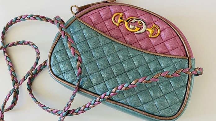 New Gucci Pink/Blue Leather Laminated Trapuntata Bag