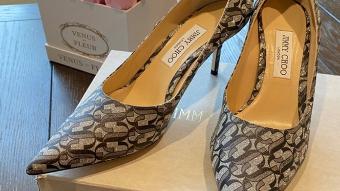 New Jimmy Choo Monogram Glitter Pointed Pumps Size (10.5)