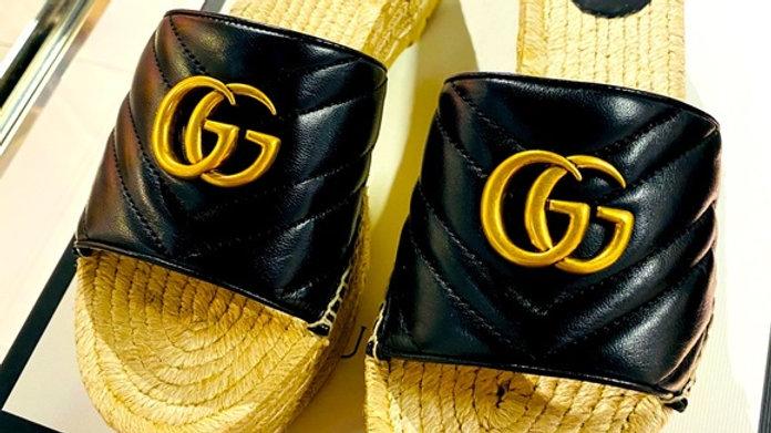 New Gucci Espadrille GG Platform Slides (Size 10)