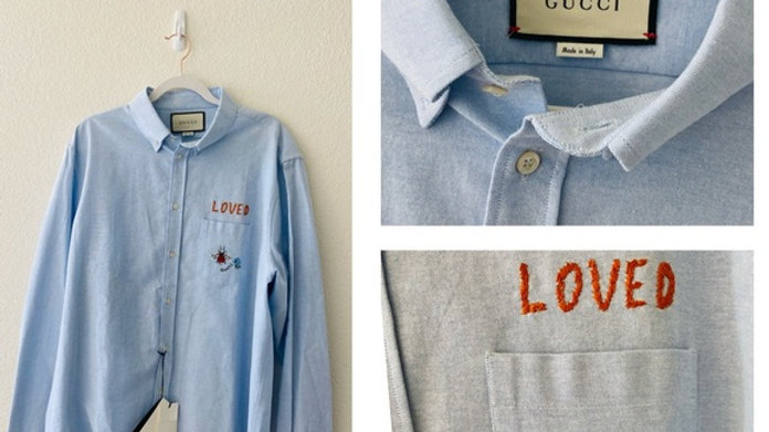 New Gucci Men Embroidery Shirt - Size  (44)