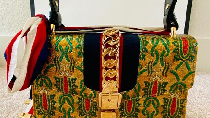 New Gucci Brocade Fabric Sylvie Shoulder Bag