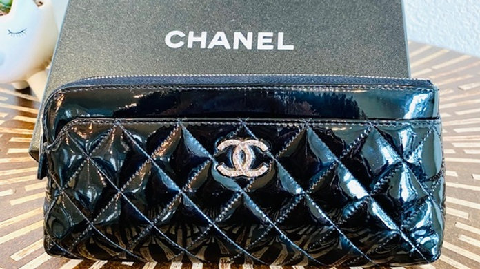CHANEL Patent Quilted Small Case - PreLoved