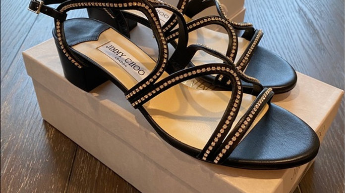 New Jimmy Choo Black Leather with Rhinestone Size (10)