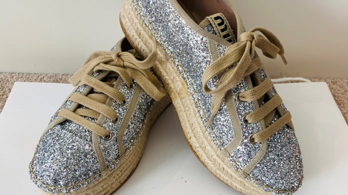 Brand New Miu Miu glitter Espadrille Size (9)