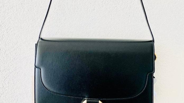 New Gg Ring Leather Shoulder Bag In Black