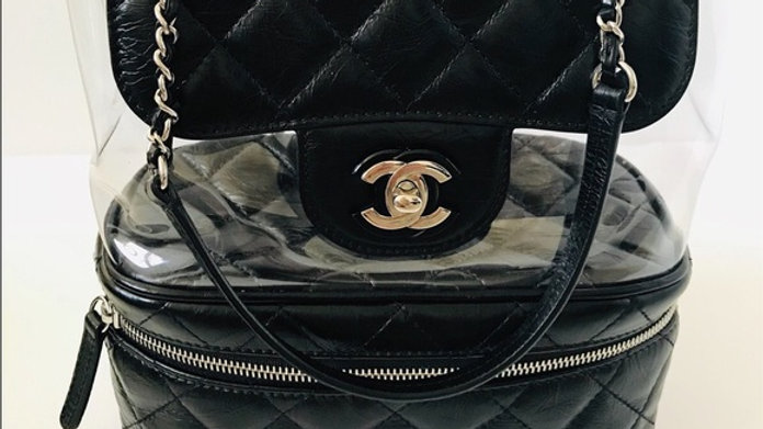 Chanel Zip Around Flap Bag Quilted Crumpled Calfskin and PVC Small - PreLoved