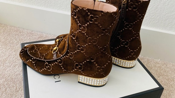 SOLD - New Gucci Boots with Diamond Heels  (Size 10.5)