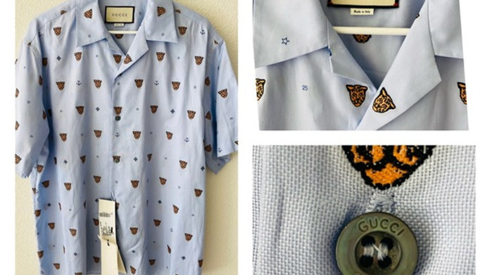 New Gucci Tiger Short Sleeve Shirt - Size  (52)