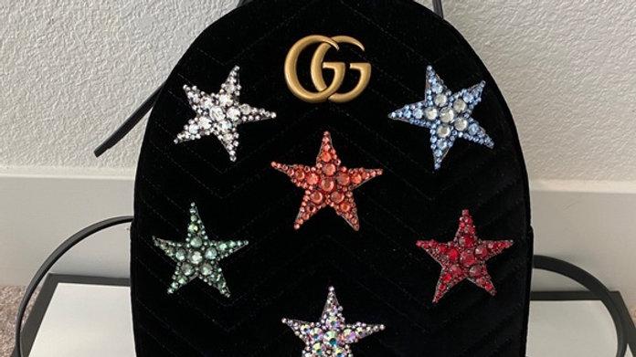 Brand New Velvet Matelasse Crystal Star GG Marmont Backpack
