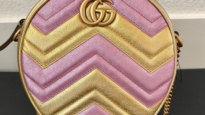 Classic GG Circular Bag with Chevron Print - PreLoved
