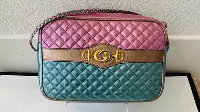 SOLD - Brand New Trapuntata Camera Bag Quilted Laminated Leather