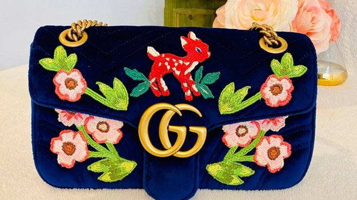 Brand New Gucci GG Deer Velvet Single Flap