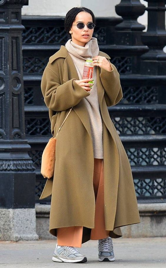 Zoe Kravitz in beige coat on Wardrobe Wellness blogpost