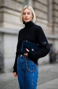 Blue velvet Chanel bag