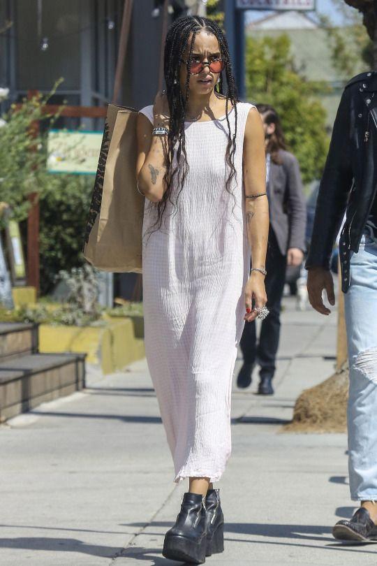 Zoe Kravitz in white dress on Wardrobe Wellness blogpost