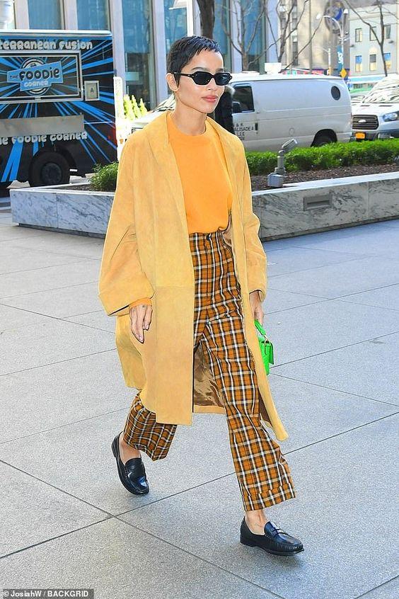 Zoe Kravitz in yellow coat on Wardrobe Wellness blogpost
