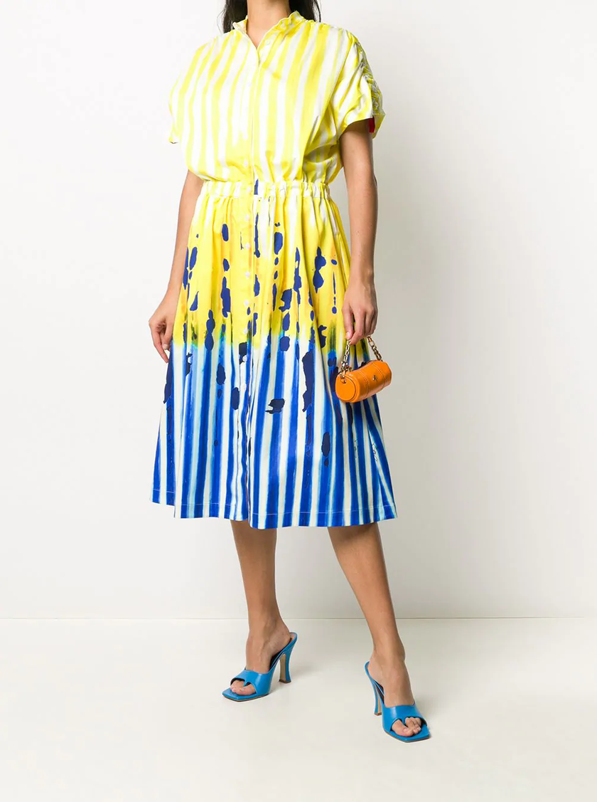 Stella Jean yellow and blue striped shirt dress featured in Wardrobe Wellness blog post
